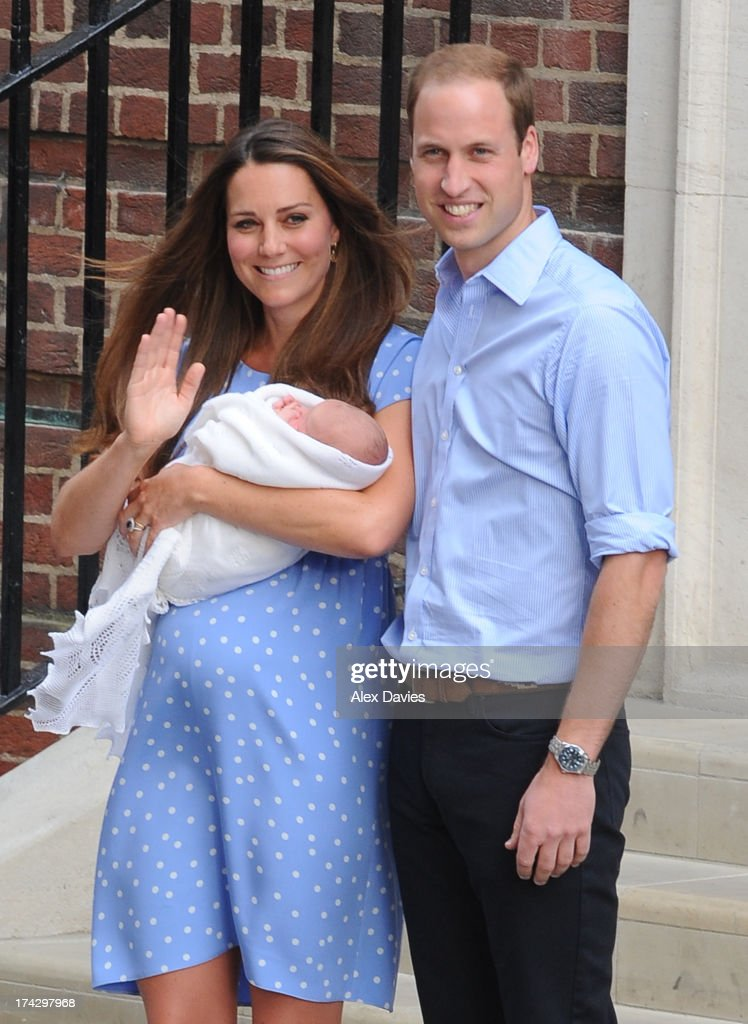 Catherine, Duchess of Cambridge and Prince William, Duke of Cambridge leave the Lindo Wing with their newborn son at St Mary's Hospital on July 23, 2013 in London, England.