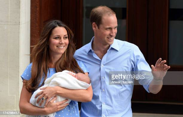 Catherine Duchess of Cambridge and Prince William Duke of Cambridge leave the Lindo Wing of St Mary's hospital with their newborn son on July 23 2013...
