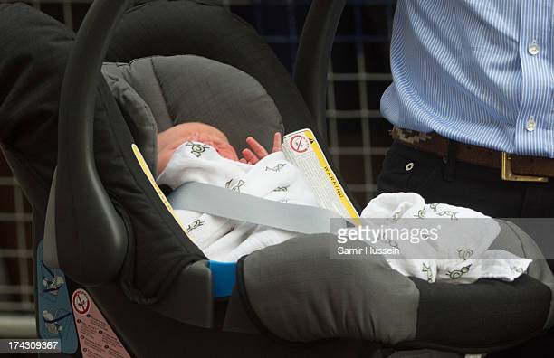 Catherine Duchess of Cambridge and Prince William Duke of Cambridge leave The Lindo Wing of St Mary's Hospital with their newborn son at St Mary's...