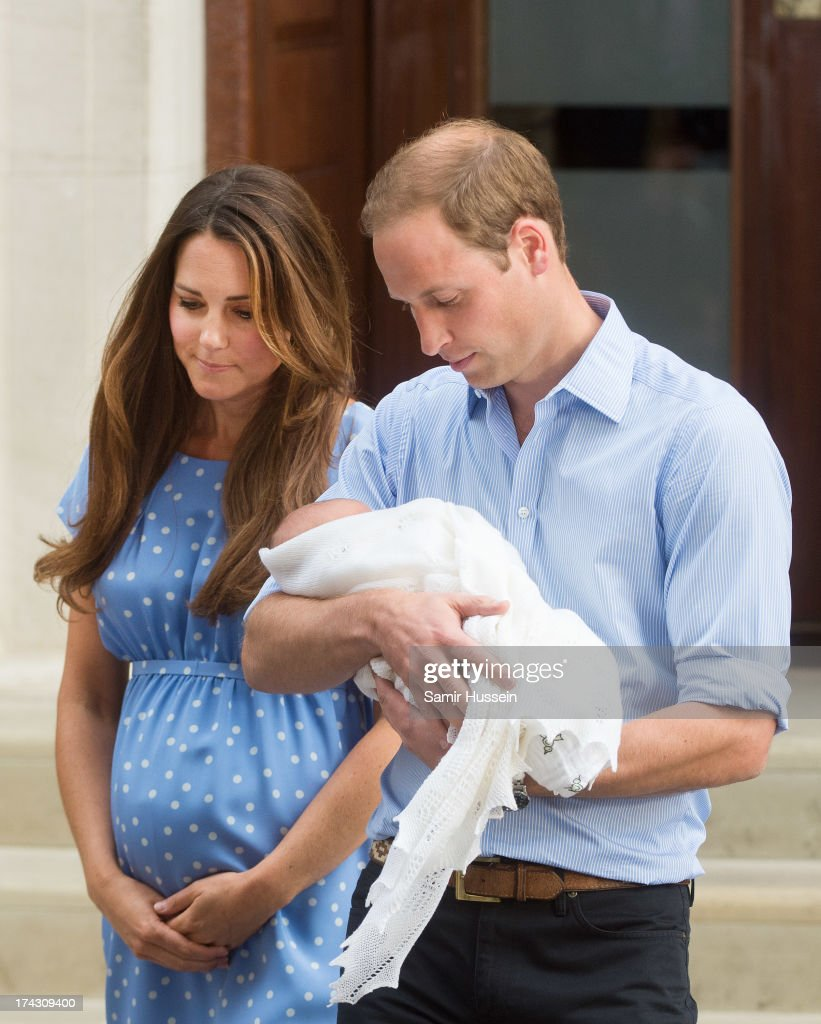 Catherine, Duchess of Cambridge and Prince William, Duke of Cambridge leave The Lindo Wing of St Mary's Hospital with their newborn son at St Mary's Hospital on July 23, 2013 in London, England.