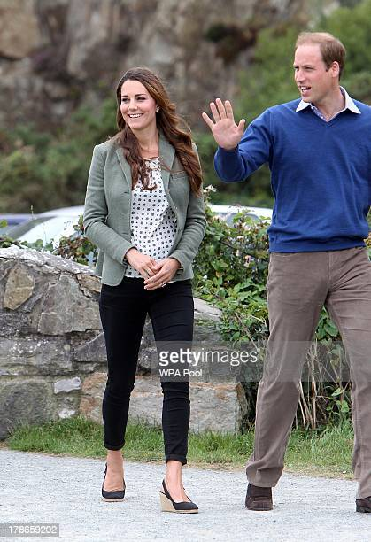 Catherine Duchess of Cambridge and Prince William Duke of Cambridge attend the start of The Ring O'Fire Anglesey Coastal Ultra Marathon on August 30...