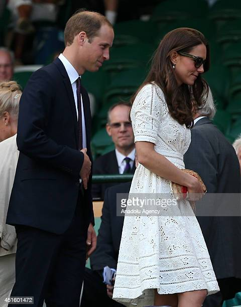 Catherine Duchess of Cambridge and Prince William Duke of Cambridge attends the Gentlemen's Singles quarterfinal match between Andy Murray of Great...