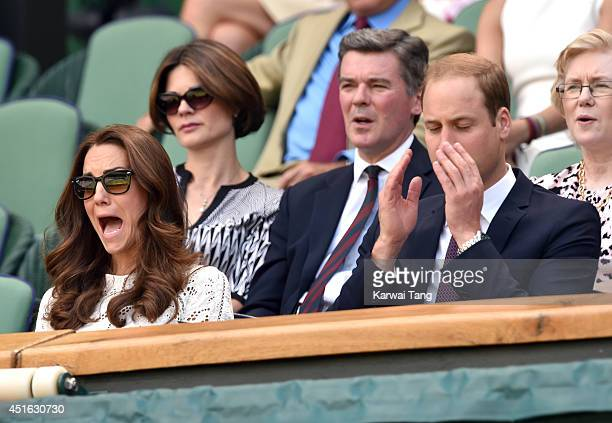 Catherine Duchess of Cambridge and Prince William Duke of Cambridge attend the Simone Halep v Sabine Lisicki match on centre court during day nine of...