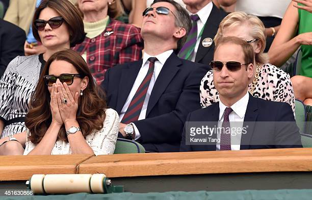 Catherine Duchess of Cambridge and Prince William Duke of Cambridge attend the Andy Murray v Grigor Dimitrov match on centre court during day nine of...