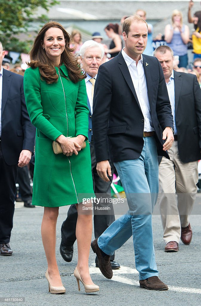 Catherine, Duchess of Cambridge and Prince William, Duke of Cambridge visit the Stage 1 route of the Tour de France on July 5, 2014 at West Tanfield, Yorkshire, England.