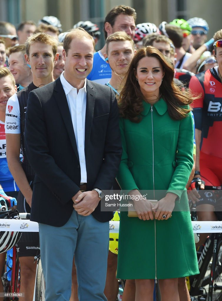 Catherine, Duchess of Cambridge and Prince William, Duke of Cambridge attend the official start of the Tour de France at Harewood House on July 5, 2014 in Leeds, Yorkshire, England.
