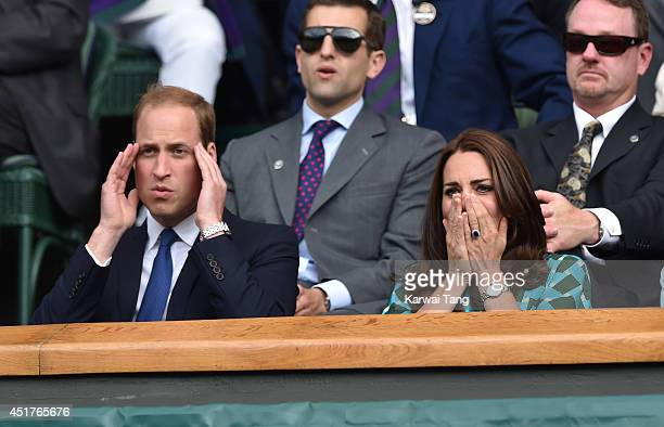 Catherine Duchess of Cambridge and Prince William Duke of Cambridge attend the mens singles final between Novak Djokovic and Roger Federer on centre...