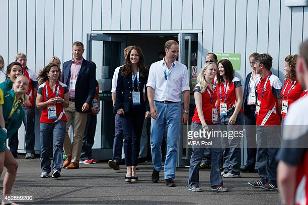 Catherine Duchess of Cambridge and Prince William Duke of Cambridge meet players and staff ahead of the Wales versus Scotland group B preliminary...