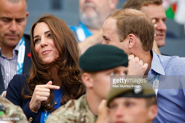 Catherine Duchess of Cambridge and Prince William Duke of Cambridge watch the athletics at Hampden Park during the 20th Commonwealth Games on July 29...