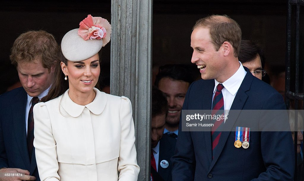 Catherine, Duchess of Cambridge and Prince William, Duke of Cambridge look on from the balcony of the town hall as they attend a reception at the Grand Place on August 4, 2014 in Mons, Belgium. Monday 4th August marks the 100th Anniversary of Great Britain declaring war on Germany. In 1914 British Prime Minister Herbert Asquith announced at 11pm that Britain was to enter the war after Germany had violated Belgium's neutrality. The First World War or the Great War lasted until 11 November 1918 and is recognised as one of the deadliest historical conflicts with millions of casualties. A series of events commemorating the 100th Anniversary are taking place throughout the day.