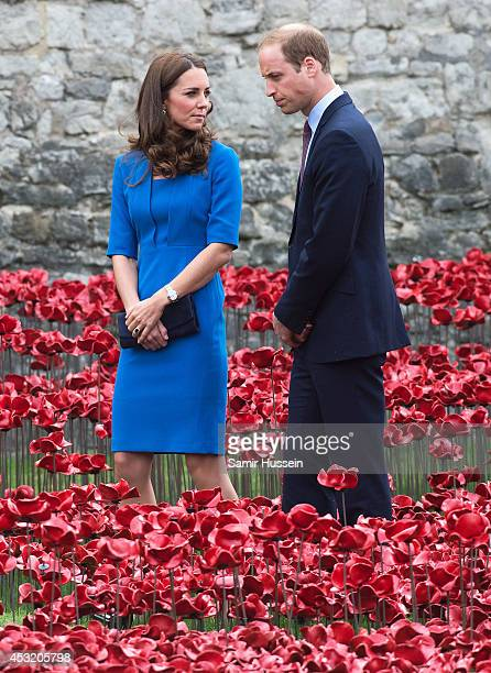 Catherine, Duchess of Cambridge and Prince William, Duke of Cambridge visit The Tower Of London's Ceramic Poppy installation 'Blood Swept Lands and...