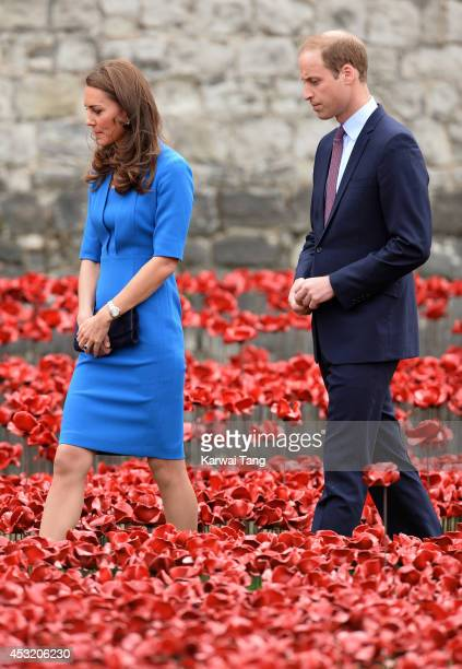 Catherine Duchess of Cambridge and Prince William Duke of Cambridge visits the Tower of London's 'Blood Swept Lands and Seas of Red' poppy...