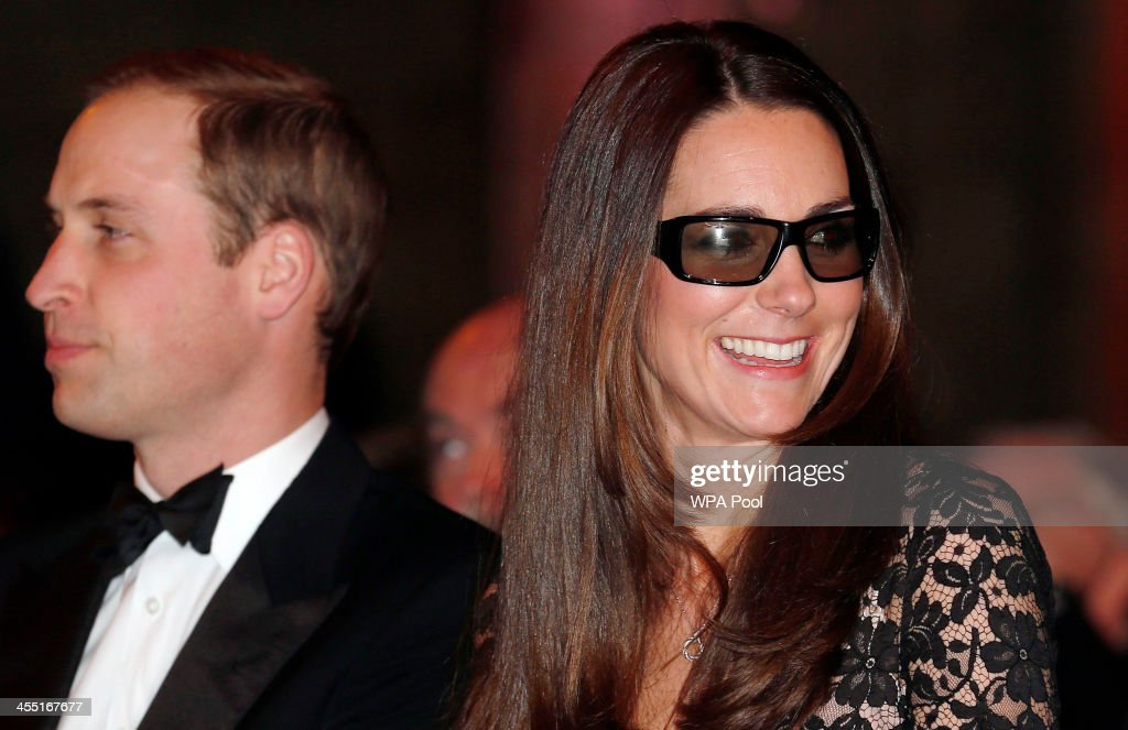 Catherine, Duchess of Cambridge and Prince William, Duke of Cambridge wear 3D glasses before a screening of David Attenborough's Natural History Museum Alive 3D at Natural History Museum on December 11, 2013 in London, England.