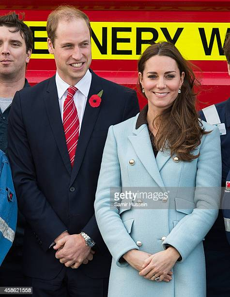 Catherine Duchess of Cambridge and Prince William Duke of Cambridge visit Pembroke Refinery on November 8 2014 in Pembroke Wales