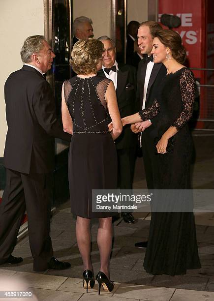 Catherine Duchess of Cambridge and Prince William Duke of Cambridge meet Andrew Lloyd Webber as they attend The Royal Variety Performance at London...