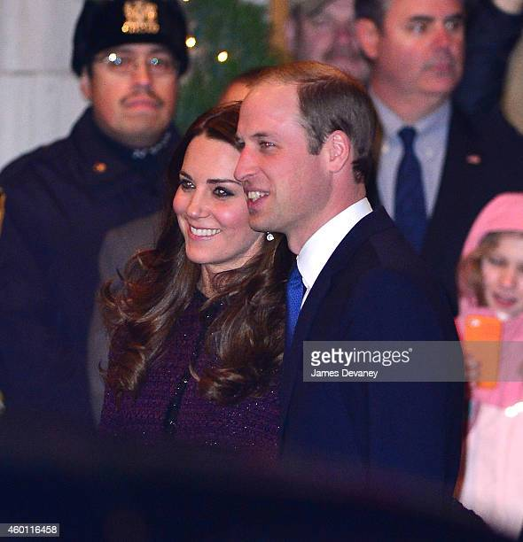 Catherine Duchess of Cambridge and Prince William Duke of Cambridge arrive to The Carlyle on December 7 2014 in New York City