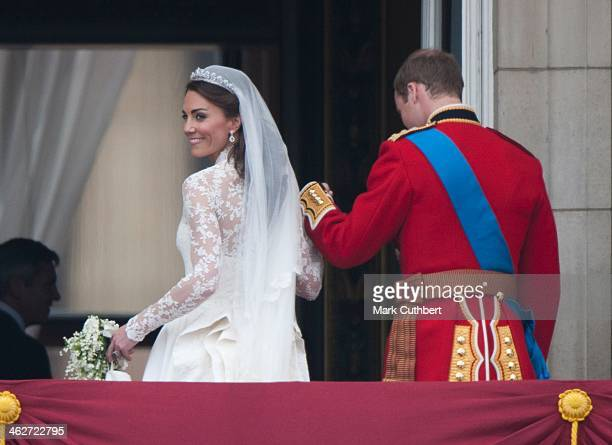Catherine, Duchess of Cambridge and Prince William, Duke of Cambridge on the balcony at Buckingham Palace, following their wedding at Westminster...