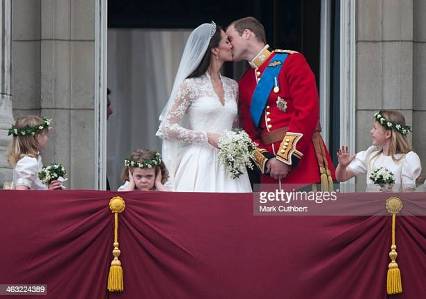 Catherine Duchess of Cambridge and Prince William Duke of Cambridge on the balcony at Buckingham Palace with Bridesmaids Margarita ArmstrongJones And...
