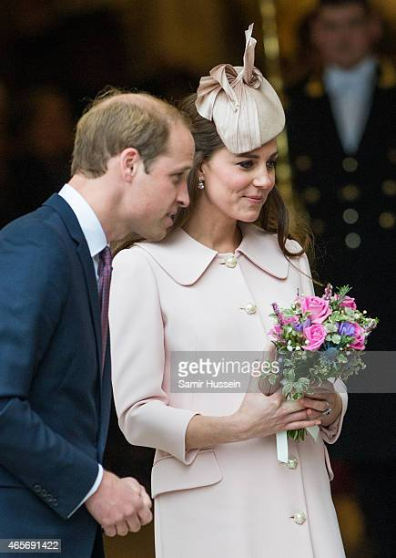 Catherine Duchess of Cambridge and Prince William Duke of Cambridge attend the Commonwealth Service at Westminster Abbey on March 9 2015 in London...