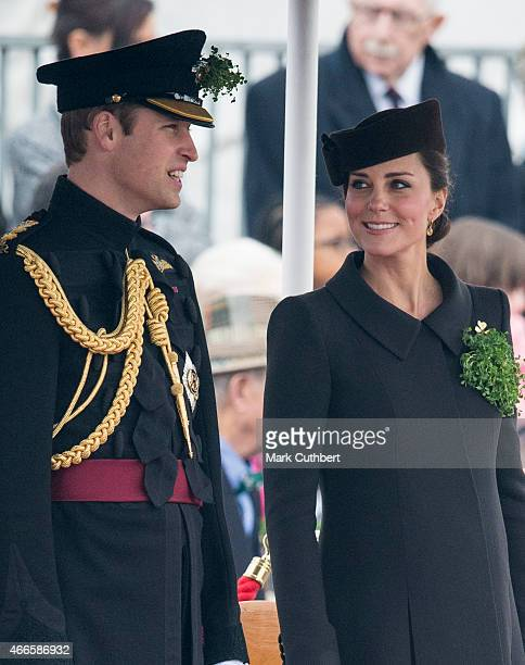 Catherine Duchess of Cambridge and Prince William Duke of Cambridge attend the St Patrick's Day Parade at Mons Barracks on March 17 2015 in Aldershot...