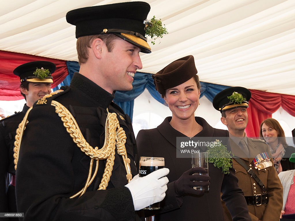 Catherine, Duchess of Cambridge and Prince William, Duke of Cambridge attend the St Patrick's Day Parade at Mons Barracks on March 17, 2015 in Aldershot, England.