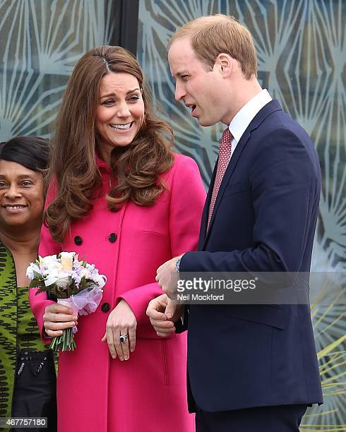 Catherine Duchess of Cambridge and Prince William Duke of Cambridge visit the Stephen Lawrence Centre in Deptford on March 27 2015 in London England
