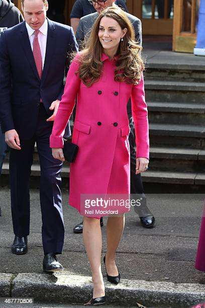 Catherine Duchess of Cambridge and Prince William Duke of Cambridge visit the XLPChrist Church on March 27 2015 in London England