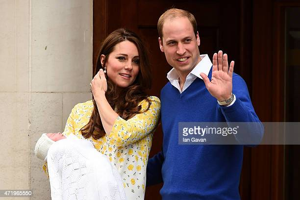 Catherine Duchess of Cambridge and Prince William Duke of Cambridge leave The Lindo Wing of St Mary's Hospital with their newborn daughter Princess...