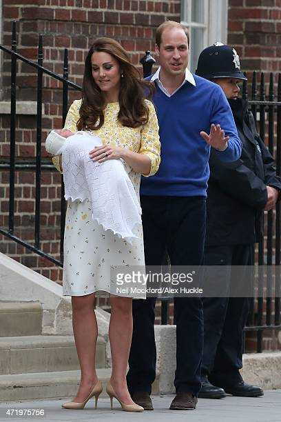 Catherine, Duchess of Cambridge and Prince William, Duke of Cambridge depart the Lindo Wing with their newborn daughter at St Mary's Hospital on May...