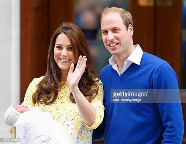Catherine, Duchess of Cambridge and Prince William, Duke of Cambridge leave the Lindo Wing with their newborn daughter at St Mary's Hospital on May...