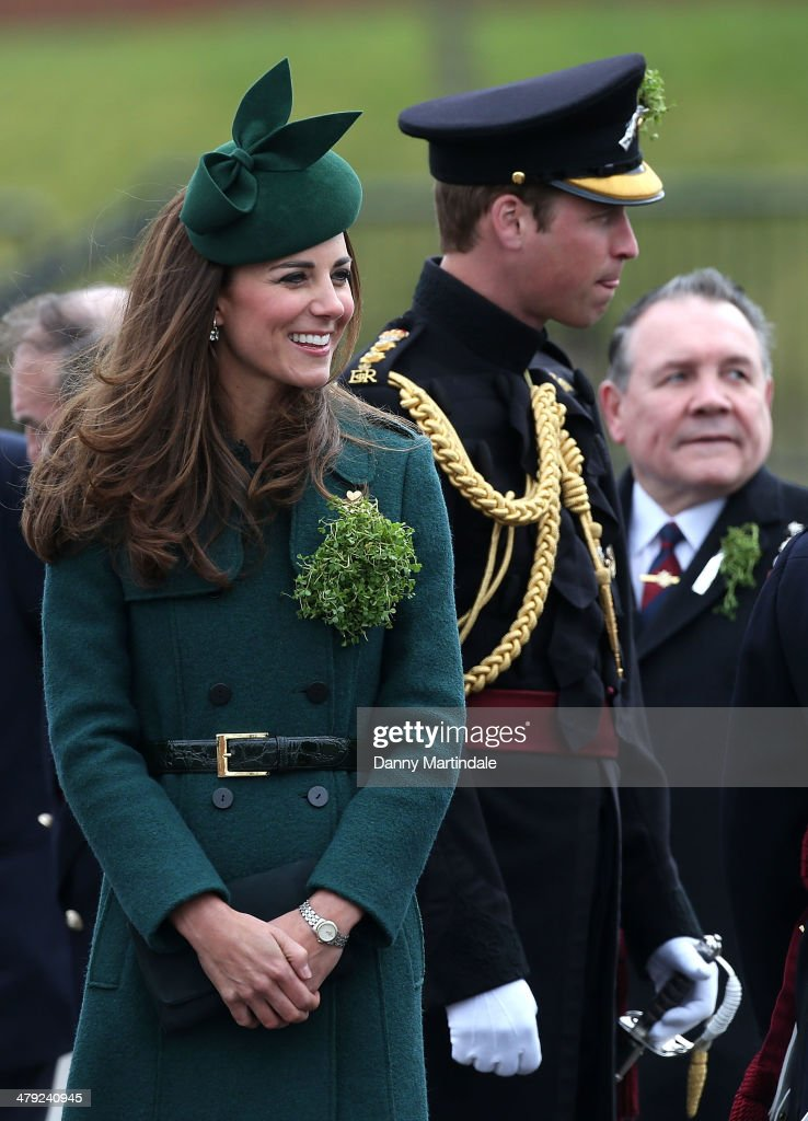 Catherine, Duchess of Cambridge and Prince William, Duke of Cambridge attend the St Patrick's Day parade at Mons Barracks on March 17, 2014 in Aldershot, England. Catherine, Duchess of Cambridge and Prince William, Duke of Cambridge visited the 1st Battalion Irish Guards to present the traditional sprigs of Shamrocks to the Officers and Guardsmen of the Regiment.