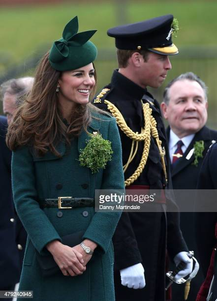 Catherine, Duchess of Cambridge and Prince William, Duke of Cambridge attend the St Patrick's Day parade at Mons Barracks on March 17, 2014 in...