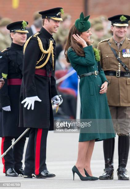 Catherine Duchess of Cambridge and Prince William Duke of Cambridge attend the St Patrick's Day parade at Mons Barracks on March 17 2014 in Aldershot...