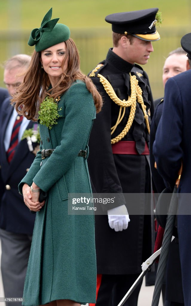 Catherine, Duchess of Cambridge and Prince William, Duke of Cambridge attend the St Patrick's Day parade at Mons Barracks on March 17, 2014 in Aldershot, England.