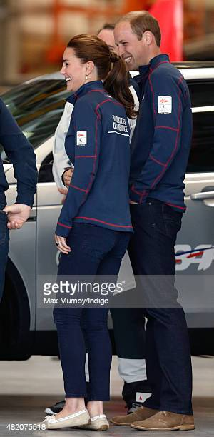 Catherine Duchess of Cambridge and Prince William Duke of Cambridge visit the Ben Ainslie Racing team base as they attend the America's Cup World...