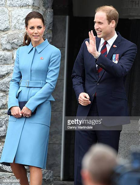Catherine, Duchess of Cambridge and Prince William, Duke of Cambridge attend a wreath laying ceremony at the memorial in Seymour Square in Blenheim...
