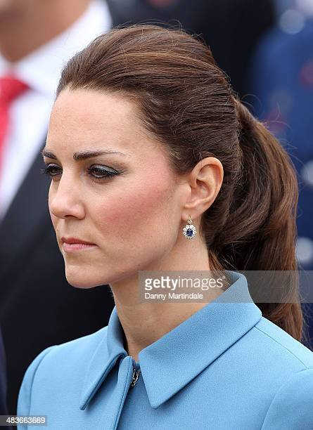 Catherine Duchess of Cambridge and Prince William Duke of Cambridge attend a wreath laying ceremony at the memorial in Seymour Square in Blenheim on...