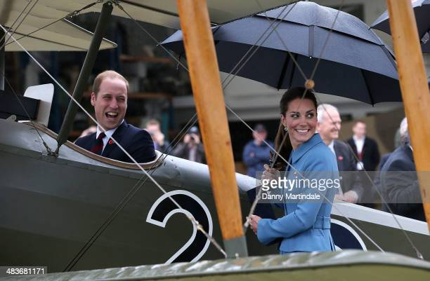 Catherine Duchess of Cambridge and Prince William Duke of Cambridge are seen looking at a Sopwith Pup at the 'Knights of the Sky' exhibition at Omaka...