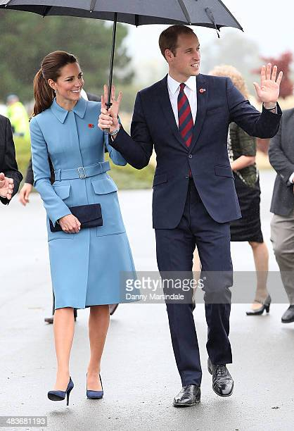 """Catherine, Duchess of Cambridge and Prince William, Duke of Cambridge attend the """"Knights of the Sky"""" exhibition at Omaka Aviation Heritage Centre in..."""