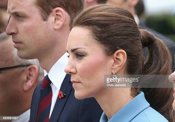 Catherine, Duchess of Cambridge and Prince William, Duke of Cambridge lay a wreath at Seymour Square during Day 4 of a Royal Tour to New Zealand on...