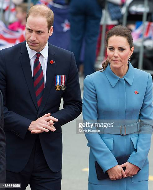 Catherine, Duchess of Cambridge and Prince William, Duke of Cambridge attend a wreathlaying service at the War Memorial in Seymour Square on April...