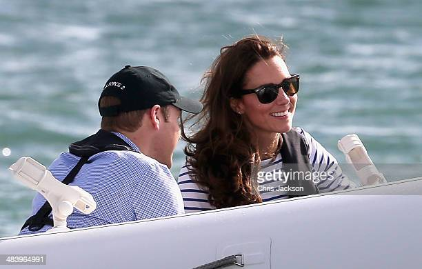 Catherine Duchess of Cambridge and Prince William Duke of Cambridge travel on the amphibious craft 'sealegs' in Auckland Harbour on April 11 2014 in...