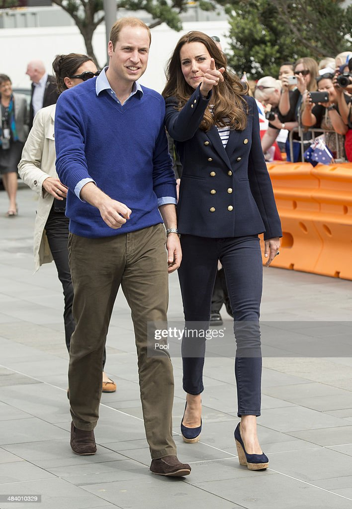 Catherine, Duchess of Cambridge and Prince William, Duke of Cambridge arrive at Auckland Harbour on April 11, 2014 in Auckland, New Zealand. The Duke and Duchess of Cambridge are on a three-week tour of Australia and New Zealand, the first official trip overseas with their son, Prince George of Cambridge.