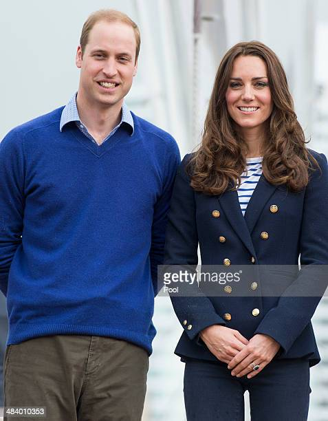 Catherine Duchess of Cambridge and Prince William Duke of Cambridge pose at Auckland Harbour on April 11 2014 in Auckland New Zealand The Duke and...