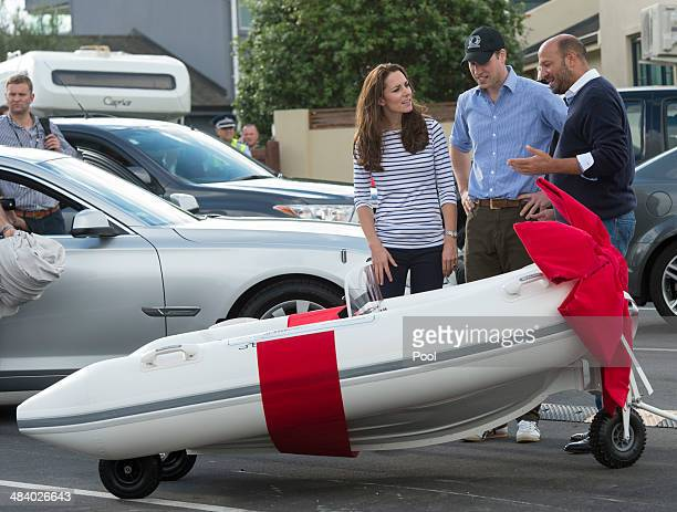 Catherine Duchess of Cambridge and Prince William Duke of Cambridge are presented with a minature Sealegs amphibious marine craft in Auckland Harbour...