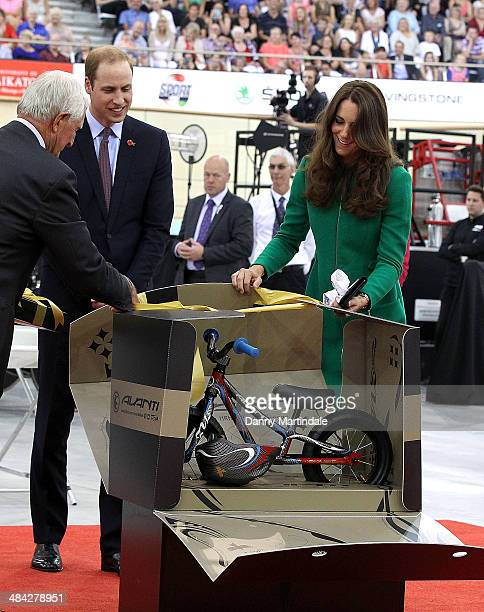 Catherine Duchess of Cambridge and Prince William Duke of Cambridge are given a baby bike for Prince George at Avantidrome where Their Royal...