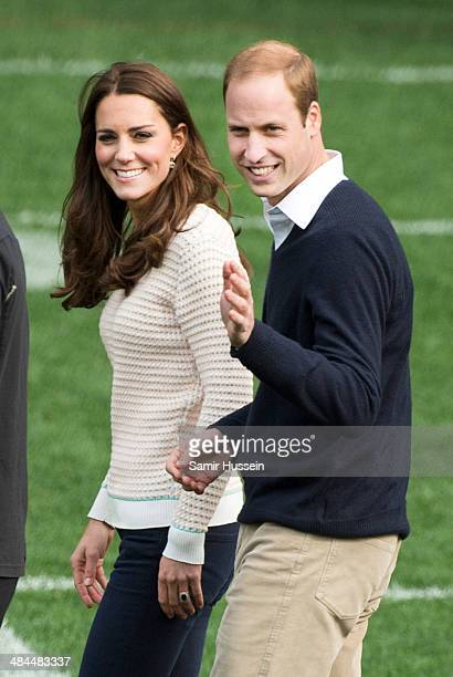 Catherine, Duchess of Cambridge and Prince William, Duke of Cambridge attend a young players' Rugby tournament at Forsyth Barr Stadium on April 13,...