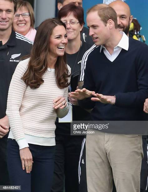Catherine Duchess of Cambridge and Prince William Duke of Cambridge arrive to watch 'Rippa Rugby' in the Forstyth Barr Stadium on day 7 of a Royal...