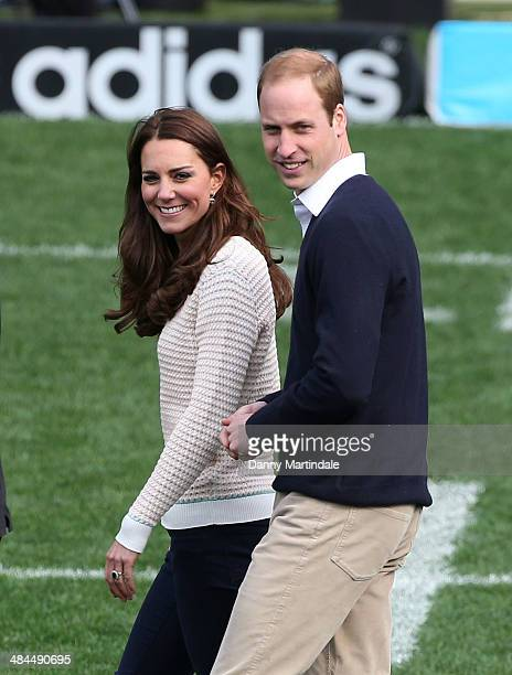 Catherine, Duchess of Cambridge and Prince William, Duke of Cambridge attend a Rippa Rugby tournament at Forsyth Barr Stadium on April 13, 2014 in...