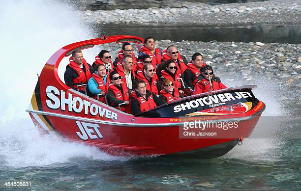 Catherine Duchess of Cambridge and Prince William Duke of Cambridge travel on the Shotover Jet on the Shotover River on April 13 2014 in Queenstown...